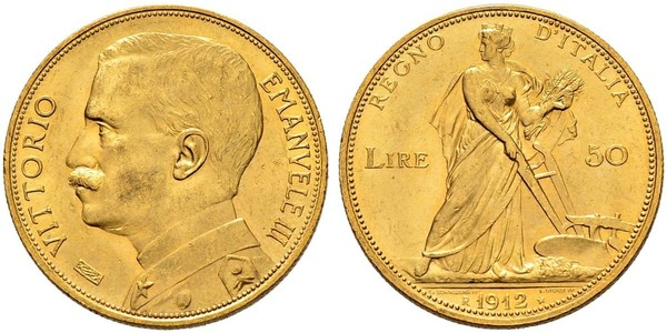 50 Lira Kingdom of Italy (1861-1946) Or Vittorio Emanuele III (1869 - 1947)