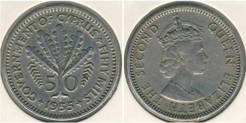 50 Mill British Cyprus (1914–1960) 銅/镍