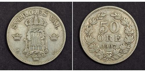 50 Ore 瑞典 銀 奧斯卡二世 (1829-1907)
