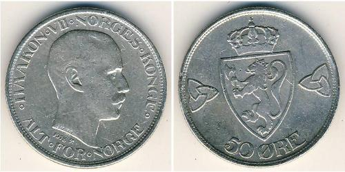 50 Ore Norvegia (1905 - ) Argento Haakon VII di Norvegia (1872 - 1957)