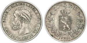 50 Ore United Kingdoms of Sweden and Norway (1814-1905) Argento Oscar II di Svezia (1829-1907)