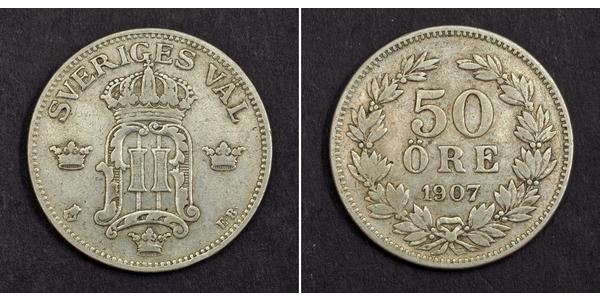 50 Ore Suecia Plata Óscar II de Suecia (1829-1907)