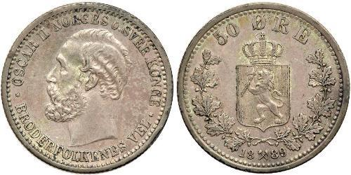 50 Ore United Kingdoms of Sweden and Norway (1814-1905) Plata Óscar II de Suecia (1829-1907)