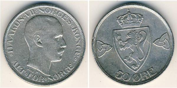 50 Ore Kongeriket Norge (1905 - ) Silber Haakon VII. (1872 - 1957)