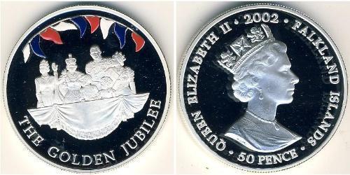 50 Penny Isole Falkland Argento Elisabetta II (1926-)
