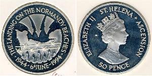 50 Penny Saint Helena (1981 - ) Copper/Nickel Elizabeth II (1926-)