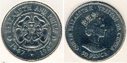 50 Penny Tristan da Cunha Copper/Nickel Elizabeth II (1926-)