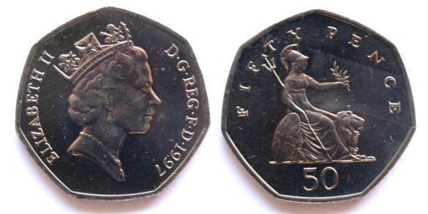 50 Penny Feriind Kiningrik (1922-) Cuivre/Nickel Elizabeth II (1926-)