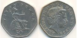 50 Penny Vereinigtes Königreich (1922-) Kupfer/Nickel Elizabeth II (1926-)