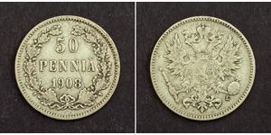 50 Penny Großfürstentum Finnland (1809 - 1917) / Russisches Reich (1720-1917) Silber