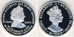 50 Penny Ascension Island Silver Elizabeth II (1926-)