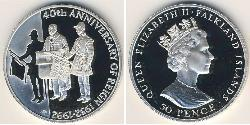 50 Penny Falkland Islands Silver Elizabeth II (1926-)