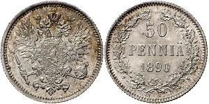 50 Penny Grand Duchy of Finland (1809 - 1917) / Russian Empire (1720-1917) Silver