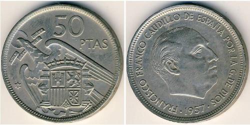 50 Peseta 佛朗哥时期 (1936 - 1975) 銅/镍 弗朗西斯科·佛朗哥 (1892 – 1975)