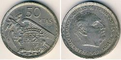50 Peseta Francoist Spain (1936 - 1975) Copper/Nickel Francisco Franco (1892 – 1975)