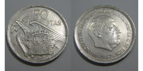 50 Peseta Francoist Spain (1936 - 1975) Copper/Nickel Francisco Franco (1892 – 1975)