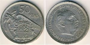 50 Peseta Dictadura de Francisco Franco (1936 - 1975) Níquel/Cobre Francisco Franco(1892 – 1975)