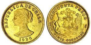 50 Peso Chile Gold