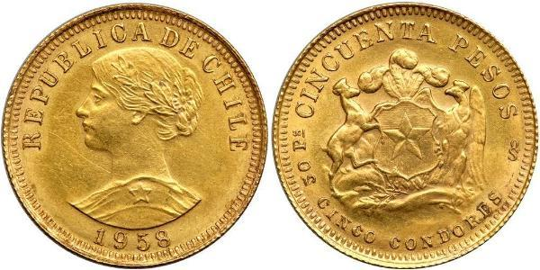 50 Peso Chile Gold