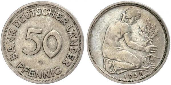 50 Pfennig 西德 (1949 - 1990) / 東德 (1949 - 1990) 銅/镍