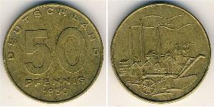 50 Pfennig Repubblica Democratica Tedesca (1949-1990) Ottone/Alluminio/Bronzo