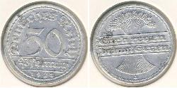 50 Pfennig República de Weimar (1918-1933) Aluminio