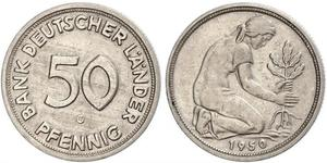 50 Pfennig German Democratic Republic (1949-1990) / West Germany (1949-1990) Copper/Nickel