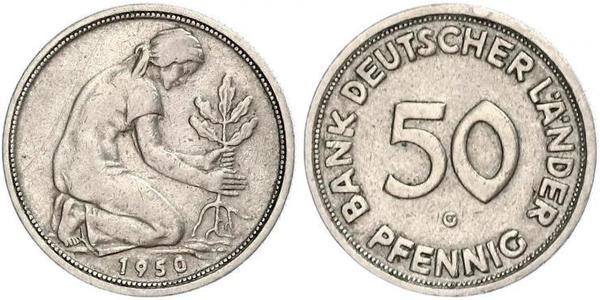 50 Pfennig German Democratic Republic (1949-1990) / West Germany (1949-1990) Copper/Nickel