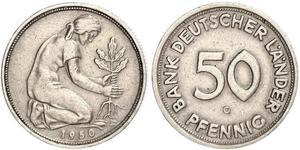 50 Pfennig Deutsche Demokratische Republik (1949-1990) / Geschichte der Bundesrepublik Deutschland (1949-1990) Kupfer/Nickel