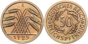 50 Pfennig / 50 Reichpfennig Weimar Republic (1918-1933) Brass