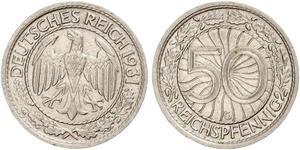 50 Pfennig / 50 Reichpfennig República de Weimar (1918-1933) Níquel/Cobre