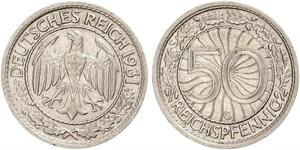 50 Pfennig / 50 Reichpfennig Repubblica di Weimar (1918-1933) Rame/Nichel
