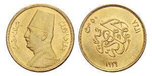 50 Piastre Königreich Ägypten (1922 - 1953) Gold Fu