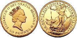 50 Pound United Kingdom (1922-) 金 伊丽莎白二世 (1926-)