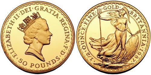 50 Pound Feriind Kiningrik (1922-) Or Elizabeth II (1926-)