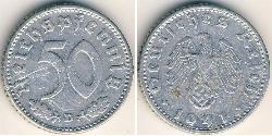 50 Reichpfennig Alemania nazi (1933-1945) Aluminio