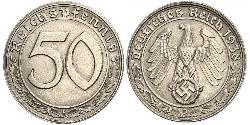 50 Reichpfennig Alemania nazi (1933-1945) Níquel