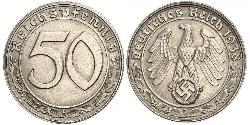 50 Reichpfennig Nazi Germany (1933-1945) Nickel