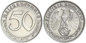 50 Reichpfennig Nazi Germany (1933-1945) Nickel