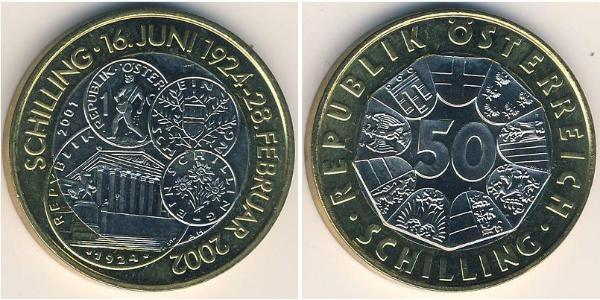 50 Shilling Republic of Austria (1955 - ) Bimetal