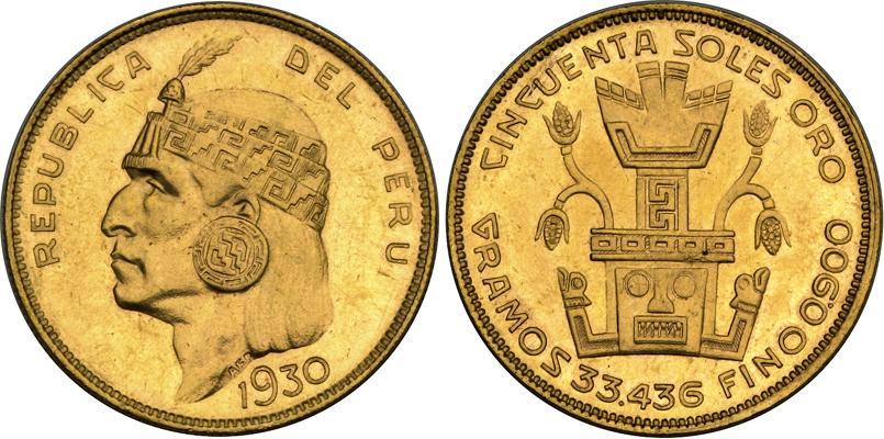 Moneda 50 Sol Per 250 Oro 1930 Precio Km 219 Fr 77