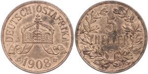 5 Геллер Германская Восточная Африка (1885-1919) Бронза
