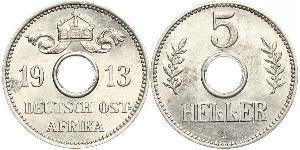 5 Геллер Германская Восточная Африка (1885-1919) Никель/Медь