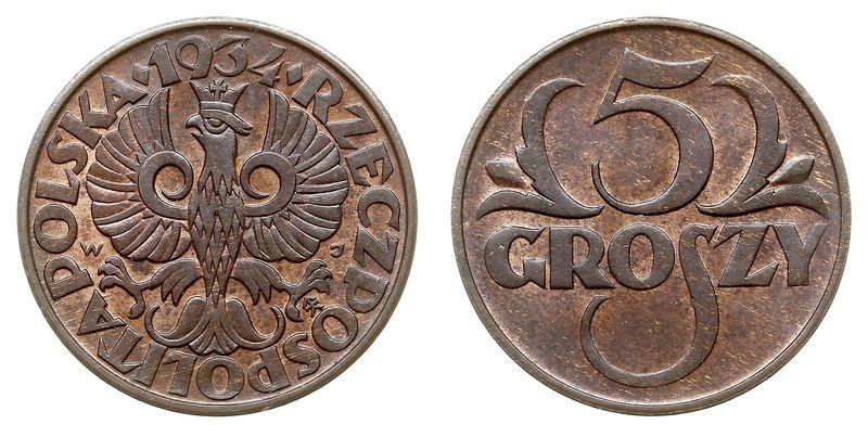 Сколько стоит монета 5 грошей 1936 года 1 коп 1984