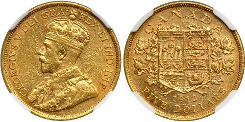 5 Доллар Канада Золото Георг V (1865-1936)