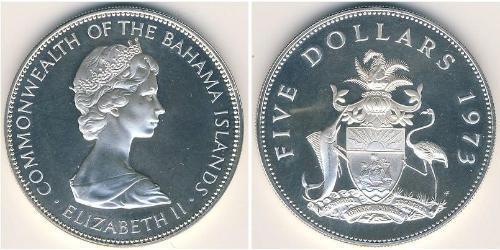 5 Доллар Багамские о-ва Серебро Елизавета II (1926-)