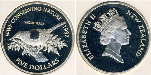 5 Доллар Новая Зеландия Серебро