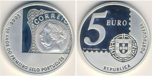 5 Евро Португальская Республика (1975 - ) Серебро