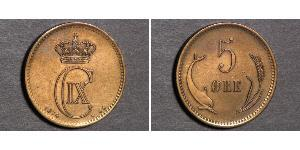 5 Ере Данія Мідь Крістіан IX король Данії (1818-1906)
