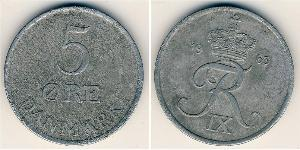 5 Ере Данія Цинк Frederick IX of Denmark (1899 - 1972)